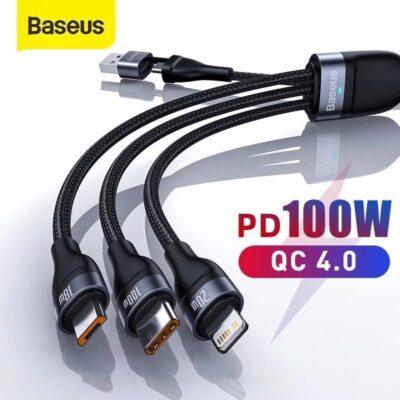 Cáp sạc đa năng 6 trong 1 Baseus Flash Series U+C to M+L+C 100W
